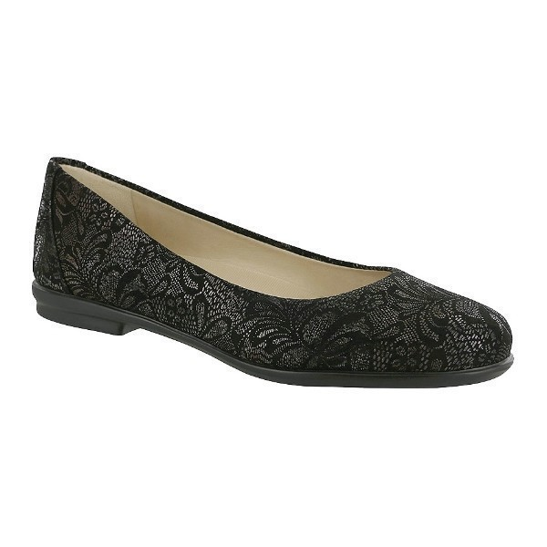 WOMEN'S SCENIC BLACK LACE LEATHER BALLET FLAT Thumbnail