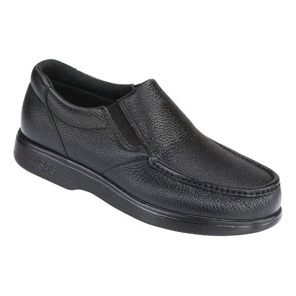 MEN'S SIDE GORE BLACK LEATHER CASUAL SLIP-ON Thumbnail