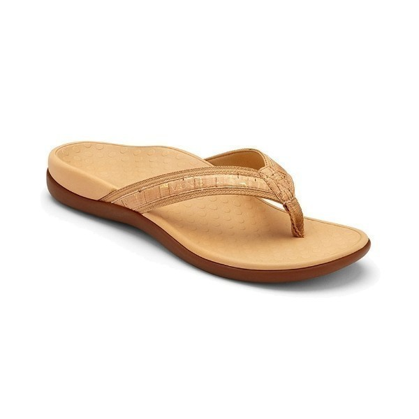 WOMEN'S TIDE II GOLD CORK SLIDE THONG SANDAL Thumbnail