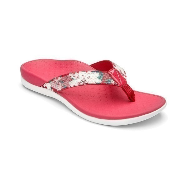 WOMEN'S TIDE SEQUIN PINK FLORAL THONG SANDAL Thumbnail