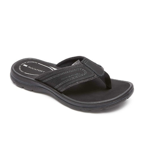 MEN'S GET YOUR KICKS BLACK THONG SANDAL Thumbnail