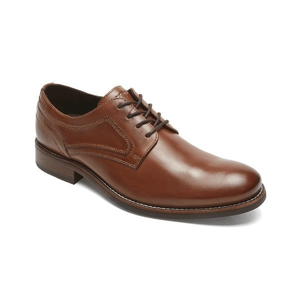 MEN'S WYAT PLAIN TOE COGNAC DRESS SHOE Thumbnail