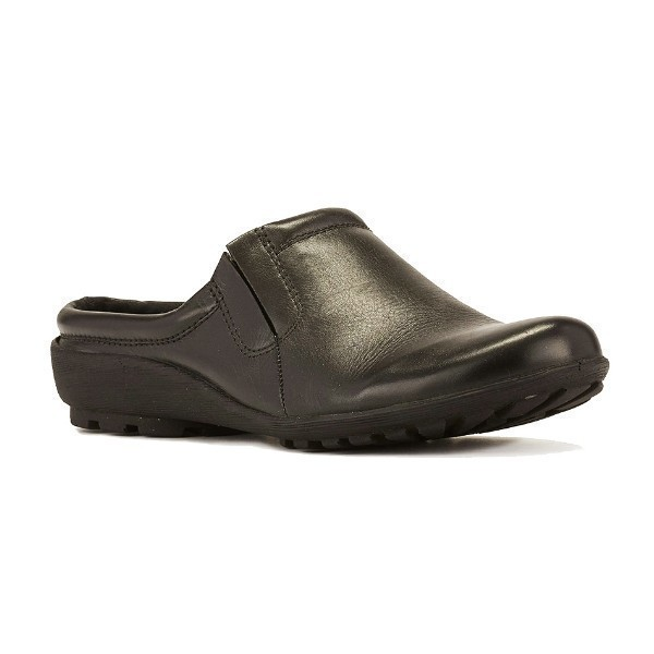 WOMEN'S HAMLET BLACK SOFTEE LEATHER CLOG Thumbnail