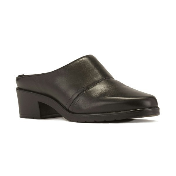 WOMEN'S CADEN BLACK LEATHER CLOG Thumbnail