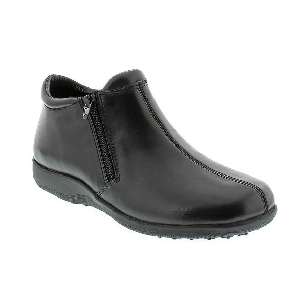 WOMEN'S ZIP BLACK LEATHER SHORT BOOT Thumbnail
