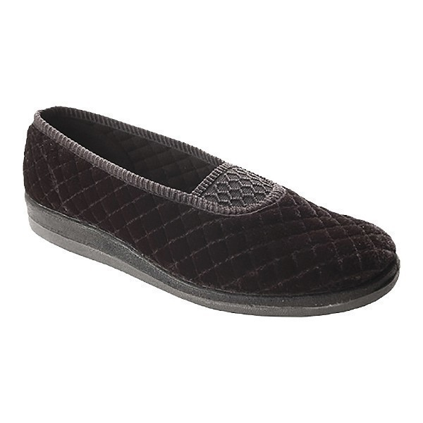 WOMEN'S WALTZ BLACK QUILTED VELOUR SLIPPER  Thumbnail