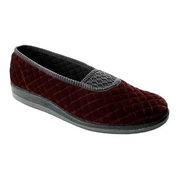WOMEN'S WALTZ BURGUNDY QUILTED VELOUR SLIPPER Thumbnail