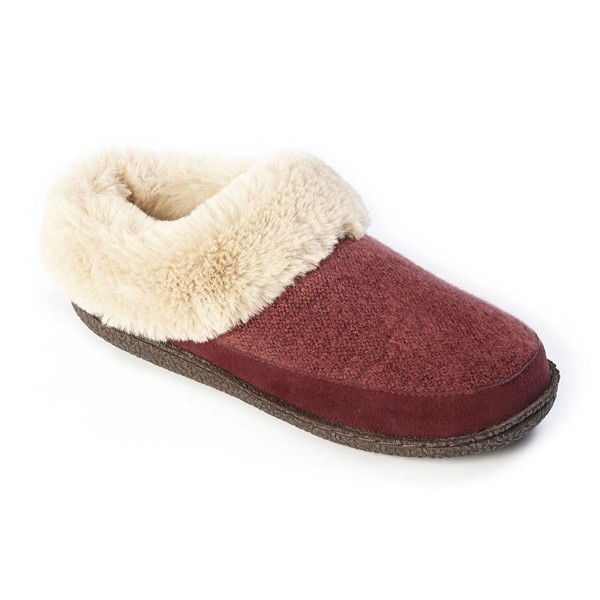 WOMEN'S MELLY BURGUNDY KNIT/SUEDE SLIPPER Thumbnail