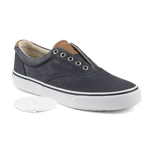 MEN'S STRIPER NAVY CANVAS SNEAKER/BOAT SHOE Thumbnail