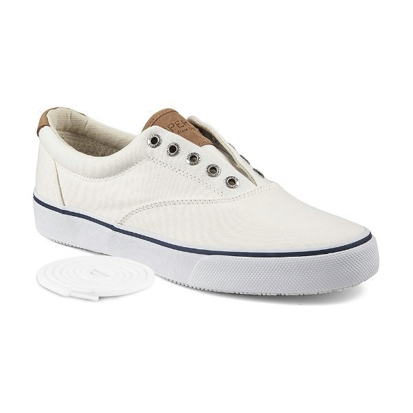 MEN'S STRIPER WHITE CANVAS SNEAKER/BOAT SHOE Thumbnail