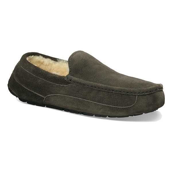 MEN'S ASCOT CHARCOAL SUEDE SLIPPER (WIDE) Thumbnail