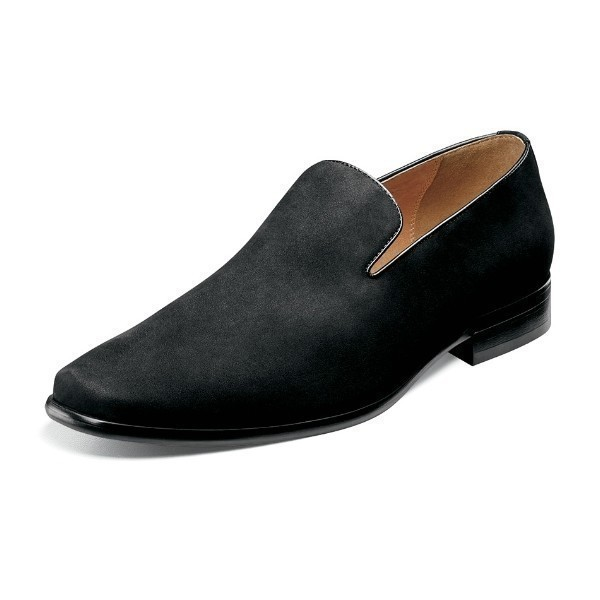 MEN'S POSTINO BLACK NUBUCK PLAIN TOE SLIP-ON Thumbnail