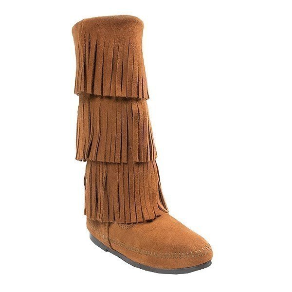 WOMEN'S 3-LAYER FRINGE BROWN BOOT Thumbnail