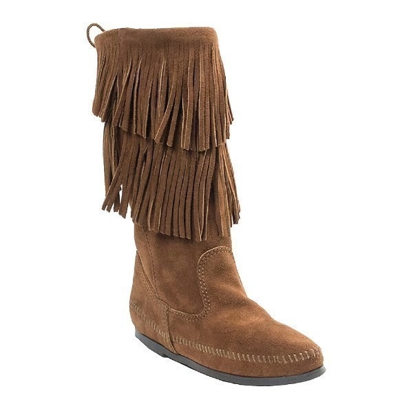 WOMEN'S 2-LAYER FRINGE BROWN BOOT Thumbnail