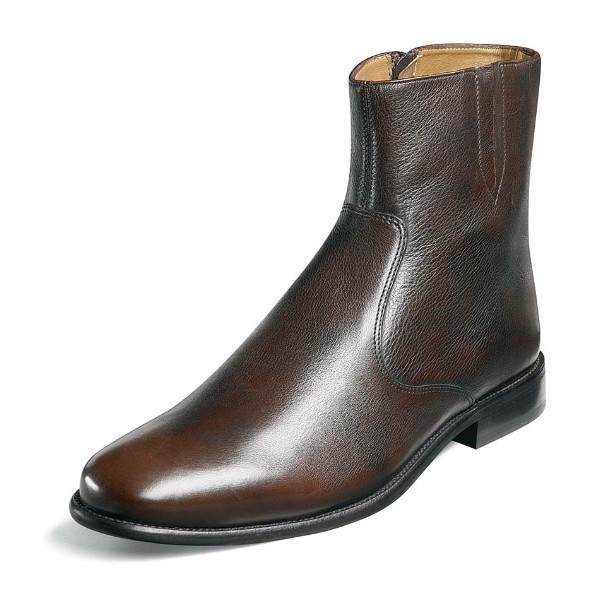 MEN'S HUGO BROWN LEATHER PLAIN TOE BOOT Thumbnail