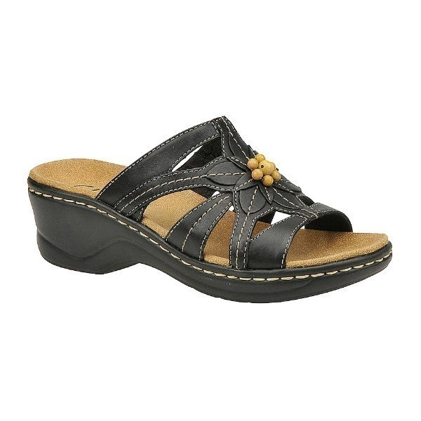 WOMEN'S LEXI MYRTLE BLACK LEATHER SANDAL Thumbnail