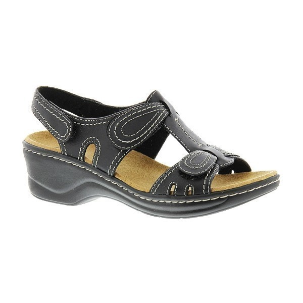 WOMEN'S LEXI WALNUT BLACK LEATHER SANDAL Thumbnail