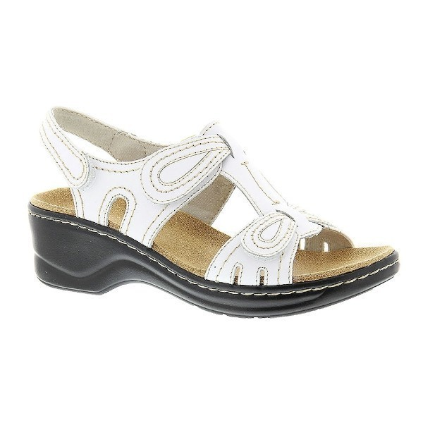 WOMEN'S LEXI WALNUT WHITE LEATHER SANDAL Thumbnail