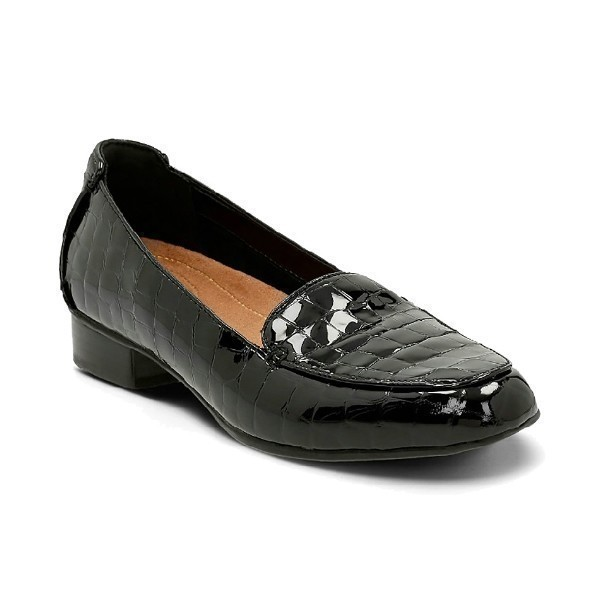 WOMEN'S KEESHA LUCA BLACK CROC DRESS FLAT Thumbnail