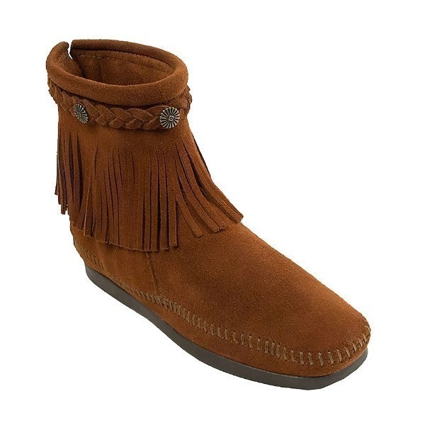 WOMEN'S HI TOP BACK ZIP BROWN FRINGE BOOT Thumbnail