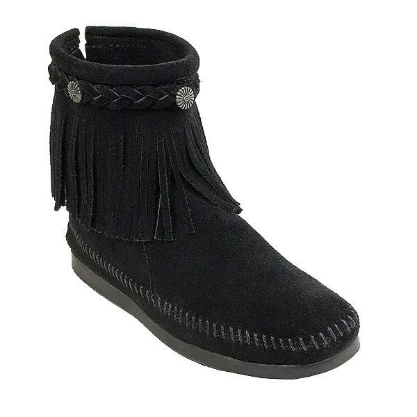 WOMEN'S HI TOP BACK ZIP BLACK FRINGE BOOT Thumbnail