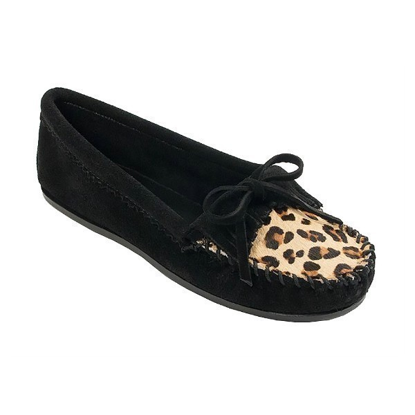 WOMEN'S LEOPARD KILTY BLACK MOCCASIN Thumbnail