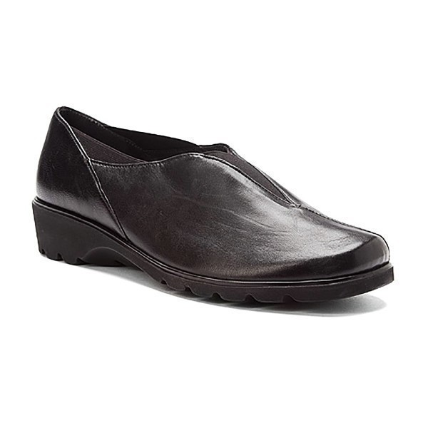 WOMEN'S ADEL BLACK LEATHER CASUAL SLIP-ON Thumbnail