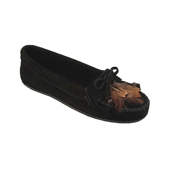 WOMEN'S FEATHER MOC BLACK SUEDE MOCCASIN Thumbnail