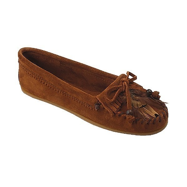 WOMEN'S FEATHER MOC BROWN SUEDE MOCCASIN Thumbnail