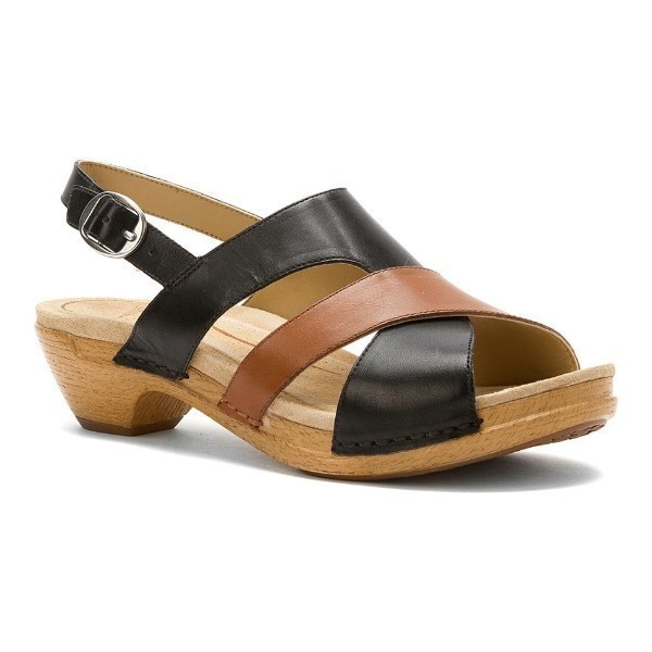 WOMEN'S LINDY BLACK/CARAMEL LEATHER SANDAL Thumbnail