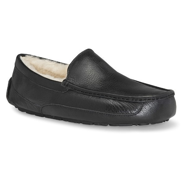 MEN'S ASCOT BLACK LEATHER SLIPPER (WIDE) Thumbnail
