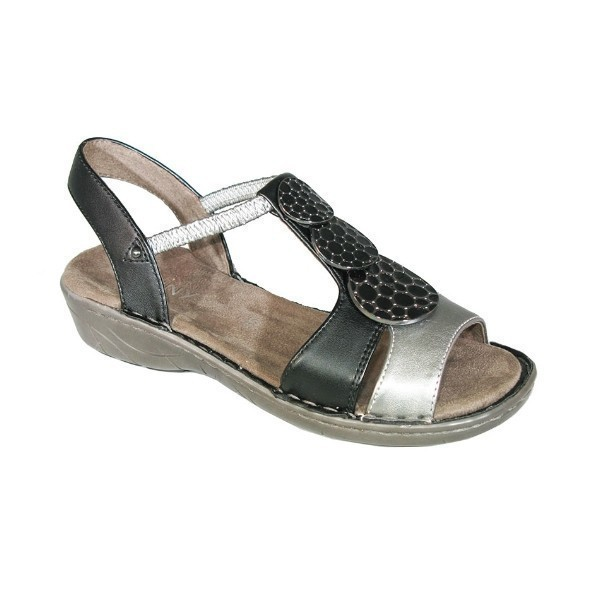 WOMEN'S KATRINA BLACK/GUNMETAL WEDGE SANDAL Thumbnail