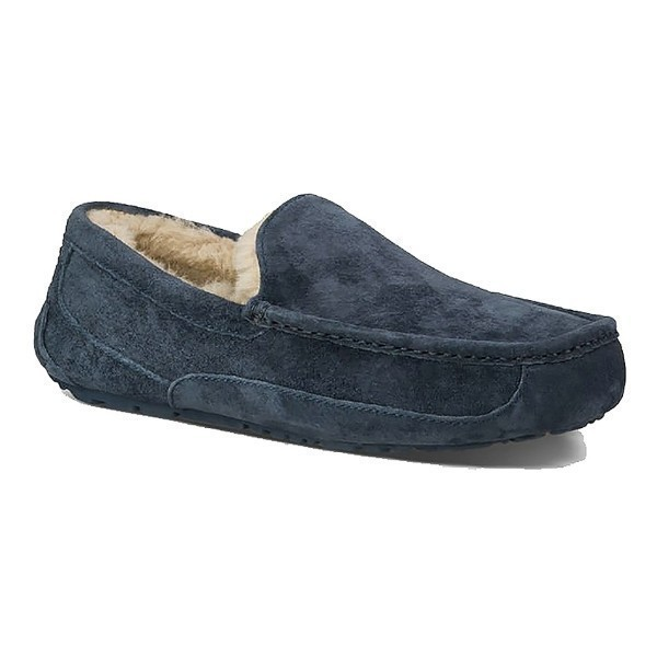 MEN'S ASCOT NAVY SUEDE SLIPPER (WIDE) Thumbnail