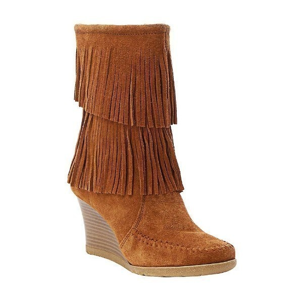 WOMEN'S FRINGE WEDGE BROWN SUEDE BOOT Thumbnail