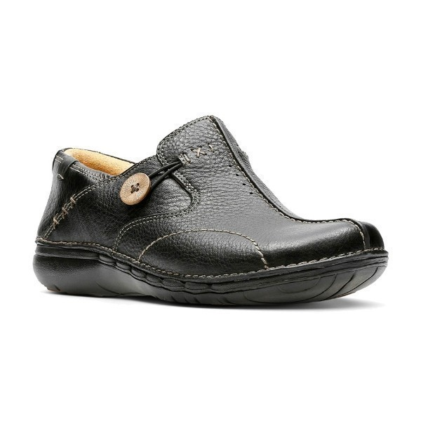 WOMEN'S UN.LOOP BLACK LEATHER CASUAL SLIP-ON Thumbnail
