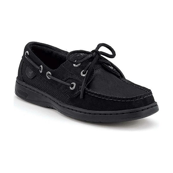 WOMEN'S BLUEFISH 2-EYE BLACK BUC BOAT SHOE Thumbnail
