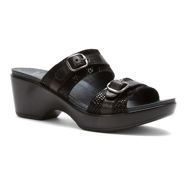 WOMEN'S JESSIE BLACK LIZARD SLIDE SANDAL Thumbnail