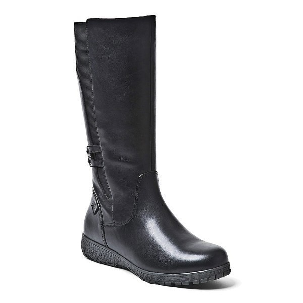 WOMEN'S ABBEY BLACK LEATHER TALL WINTER BOOT Thumbnail