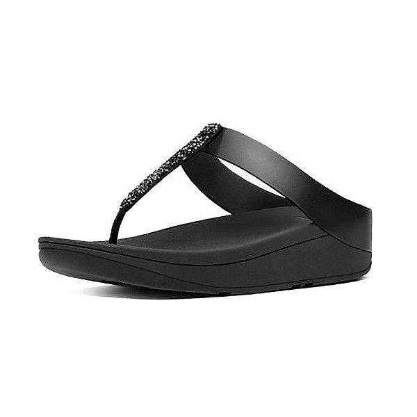 WOMEN'S FINO TOE POST BLACK FLIP FLOPS Thumbnail