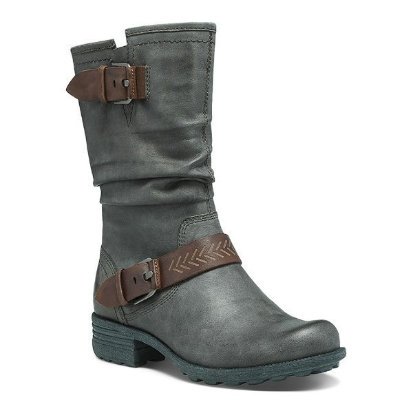WOMEN'S BROOKE GREY LEATHER SHORT BOOT Thumbnail