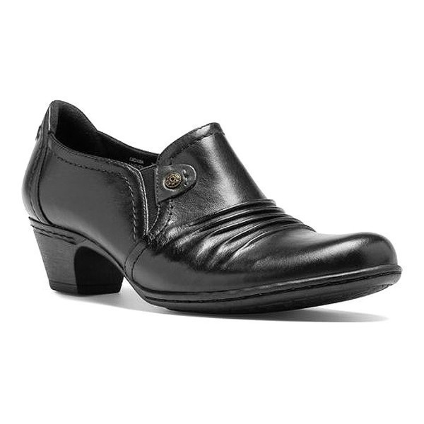 WOMEN'S ADELE BLACK LEATHER HEEL SLIP-ON Thumbnail