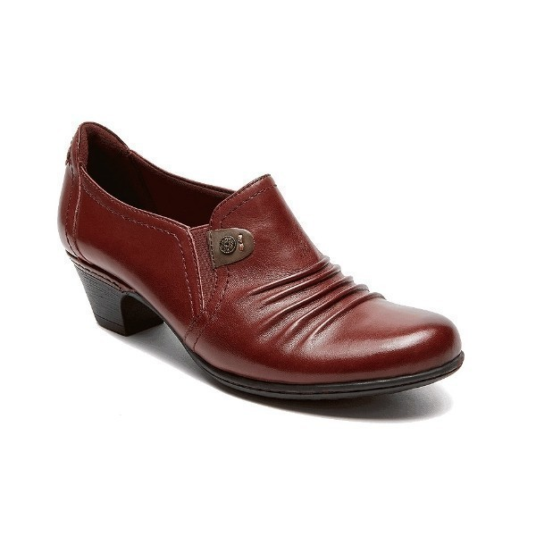 WOMEN'S ADELE MERLOT LEATHER HEEL SLIP-ON Thumbnail