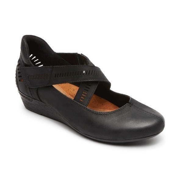 WOMEN'S JANET BLACK LEATHER WEDGE SHOE Thumbnail