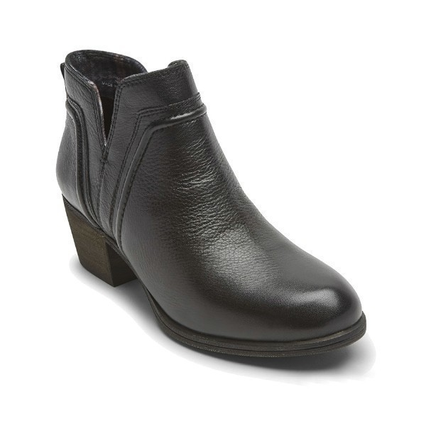 WOMEN'S ANISA V-CUT BLACK LEATHER BOOTIE Thumbnail