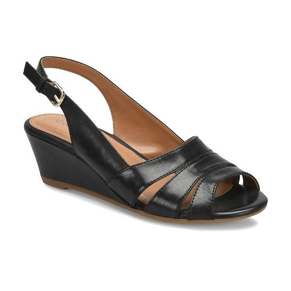 WOMEN'S RANDI BLACK LEATHER SLINGBACK WEDGE Thumbnail