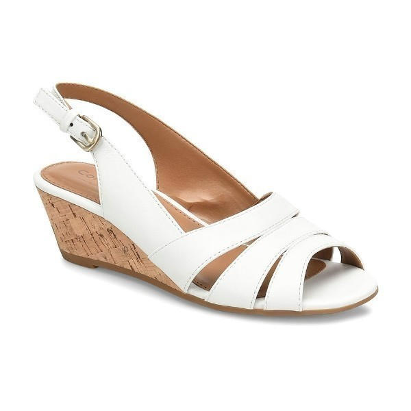 WOMEN'S RANDI WHITE LEATHER SLINGBACK WEDGE Thumbnail