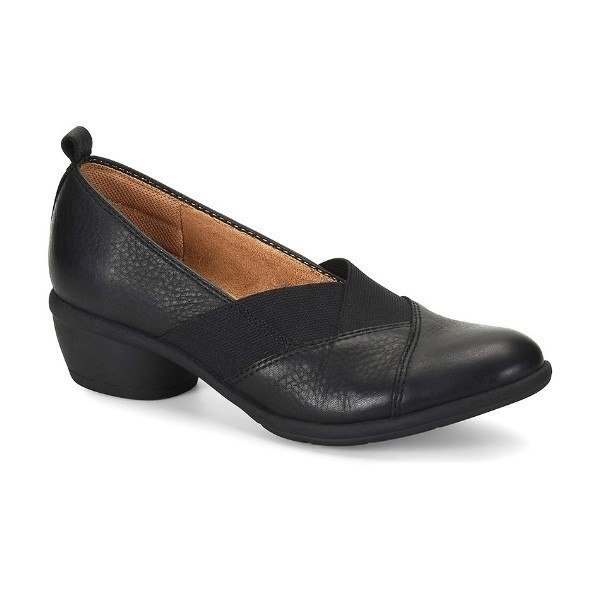 WOMEN'S QUINTON BLACK LEATHER HEEL SLIP-ON Thumbnail