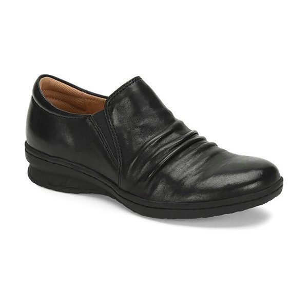 WOMEN'S FLORIAN BLACK LEATHER SLIP-ON Thumbnail