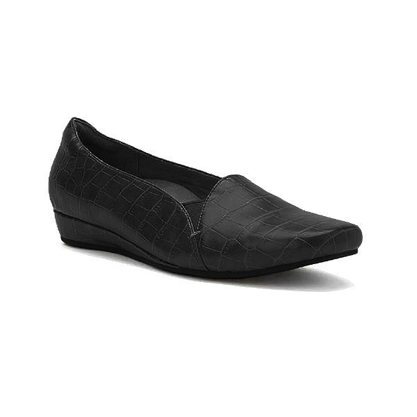 WOMEN'S DOLORES BLACK CROC DRESS FLAT Thumbnail