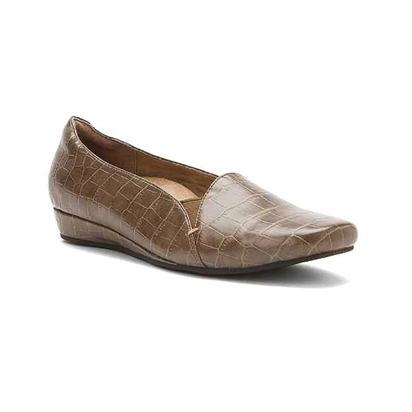 WOMEN'S DOLORES TAUPE CROC DRESS FLAT Thumbnail